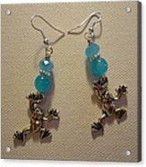 Blue Frog Earrings Acrylic Print by Jenna Green