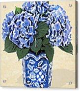 Blue Hydrangeas In A Pot On Parchment Paper Acrylic Print