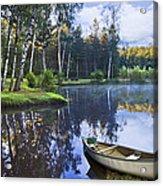 Blue Lake Acrylic Print by Debra and Dave Vanderlaan