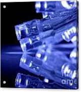 Blue Led Lights Closeup With Reflection Acrylic Print