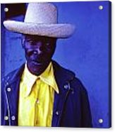 Blue Man With Yellow Hat And Shirt Acrylic Print