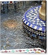 Blue Mosaic Fountain I Acrylic Print