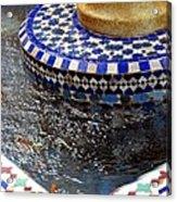 Blue Mosaic Fountain II Acrylic Print