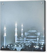 Blue Mosque In Blue Mist Acrylic Print