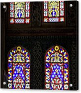 Blue Mosque Stained Glass Windows Acrylic Print