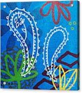 Blue Paisley Garden Acrylic Print