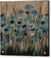 Blue Poppies And Gold Wheat Acrylic Print