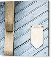 Blue Wooden Door With A Plate Acrylic Print