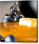 Blueberry Butter Pancake With Honey Maple Sirup Flowing Down Acrylic Print
