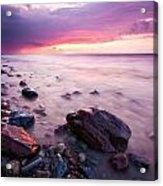 Bluffs Beach Sunset 2 Acrylic Print