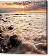 Bluffs Beach Sunset 3 Acrylic Print