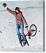 Bmx Flatland In The Snow - Monika Hinz Acrylic Print