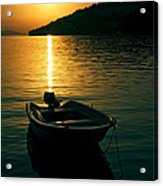 Boat And Sunset Acrylic Print