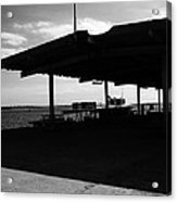 Boat At Pier Leaving Olhao To Amona Island Portugal In Black And White Acrylic Print