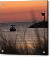Boat By Harbor Entrance Acrylic Print