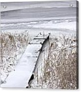 Boat Dock In Winter On A Lake No.0243 Acrylic Print