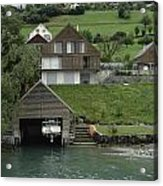 Boat House On A Mountain Slope On The Shore Of Lake Lucerne In Switzerland Acrylic Print