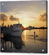 Boat Plastic Sunset  Acrylic Print