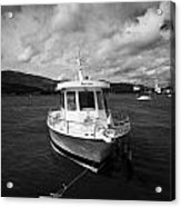 Boat Used As A Small International Passenger Ferry Crossing The Mouth Of Carlingford Lough Acrylic Print by Joe Fox