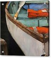 Boat With Red Acrylic Print by Jose Romero