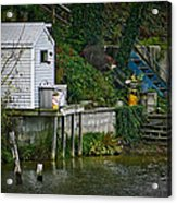 Boathouse Boy Fishing Acrylic Print