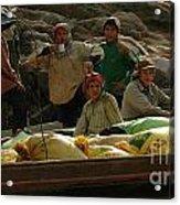 Boatmen In Laos Acrylic Print