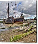 Boats And Logs At Pin Mill Acrylic Print