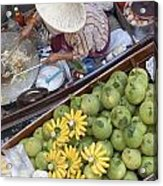 Boats At The Damnoen Saduak Floating Market In Thailand Acrylic Print by Roberto Morgenthaler