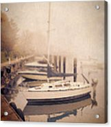 Boats In Foggy Harbor Acrylic Print
