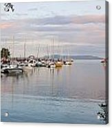 Boats In The Harbour At Sunset Thunder Acrylic Print