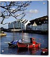 Boats Moored At A Riverbank With Acrylic Print