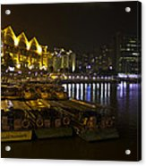 Boats Moored To The Side At Clarke Quay In Singapore Acrylic Print