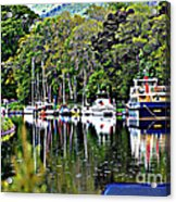 Boats On A River Acrylic Print