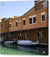 Boats On The Canal - Venice Acrylic Print