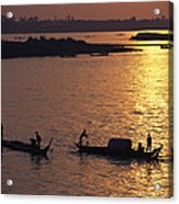 Boats Silhouetted On The Mekong River Acrylic Print