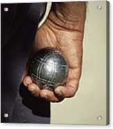 Bocce Bowler Holding A Ball Acrylic Print