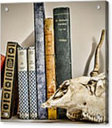 Books And Bones Acrylic Print by Heather Applegate