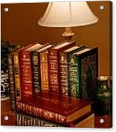 Books Sit On A Desk In A Home Library Acrylic Print by O. Louis Mazzatenta