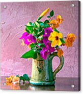 Bougainvilleas In A Green Jar. Valencia. Spain Acrylic Print