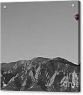 Boulder Colorado Flatirons Hot Air Balloon View Bw Acrylic Print