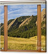 Boulder Colorado Flatirons Window Scenic View Acrylic Print by James BO  Insogna