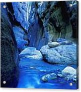 Boulder Filled River At Bottom Of Canyon Acrylic Print