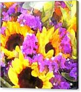 Bouquet Of Sunflowers And Purple Statice Acrylic Print
