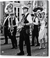 Bourbon Street Second Line Wedding New Orleans In Black And White Acrylic Print