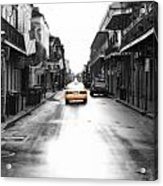 Bourbon Street Taxi French Quarter New Orleans Color Splash Black And White Diffuse Glow Digital Art Acrylic Print