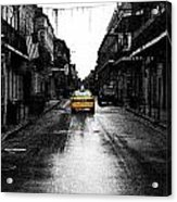 Bourbon Street Taxi French Quarter New Orleans Color Splash Black And White Fresco Digital Art Acrylic Print