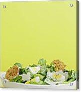 Bowl Of Caesar Salad With Egg Acrylic Print by Cultura/BRETT STEVENS