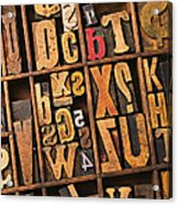 Box Of Old Wooden Type Setting Blocks Acrylic Print