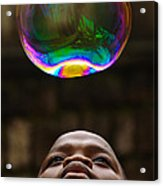 Boy Blowing Bubble Acrylic Print