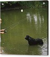Boy Fishing In A Pond With A Black Acrylic Print